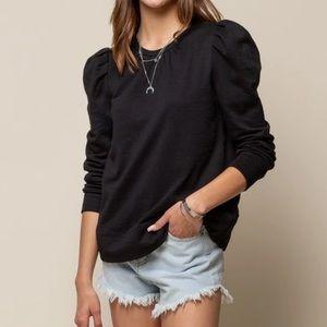 Doe & Rae black puffed sleeve pullover sweater S